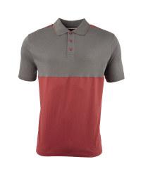 Men's Colour Block Polo Shirt - Charcoal / Burgundy