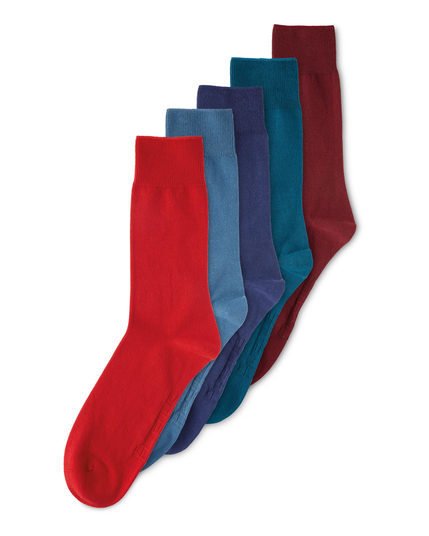 Men's Coloured Cotton Socks 5 Pack