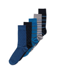 Men's Cotton Blue Socks 5 Pack