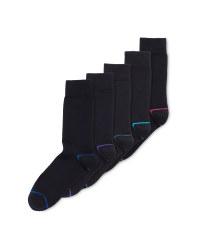 Men's Cotton Rich Black Socks 5 Pack
