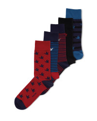 Men's Red & Blue Cotton Socks 5 Pack