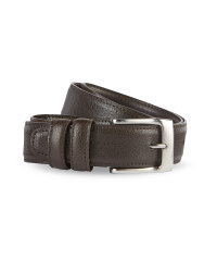 Men's Embossed Leather Belt - Brown