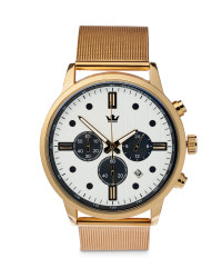Men's Gold Watch with White Dial
