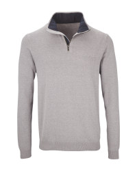 Avenue Men's Grey Half-Zip Jumper