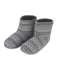 Men's Knitted Slipper Boots - Grey