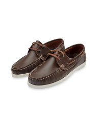 Men's Leather Boat Shoes - Dark Brown