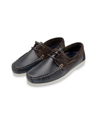 Men's Leather Boat Shoes - Navy / Brown