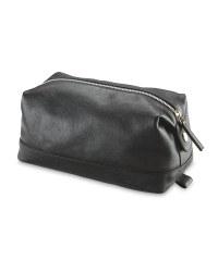Avenue Men's Leather Washbag - Black