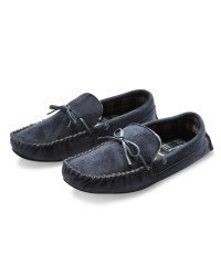 Avenue Men's Moccasin Slippers - Navy