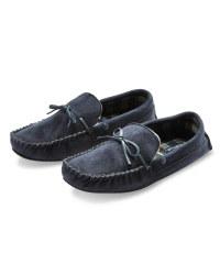 Avenue Men's Moccasin Slippers - Navy