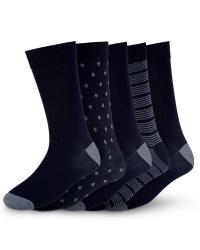 Men's Premium Modal Socks (5 Pack) - Black/Grey