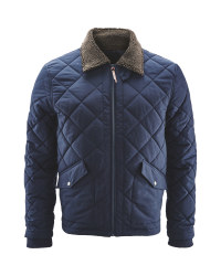 Men's Quilted Jacket Borg Collar