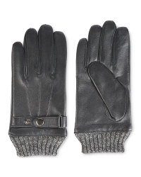 Avenue Men's Rib Cuff Leather Gloves - Black