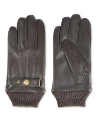 Avenue Men's Rib Cuff Leather Gloves - Brown