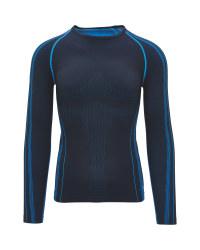 Men's Seamless Base Layer Top - Black/Blue