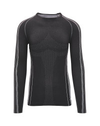 Men's Seamless Base Layer Top - Black/Grey