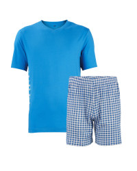 Men's Short Pyjama Set - Blue / Check