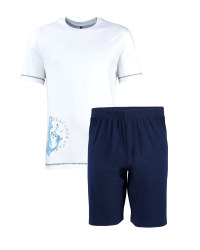 Men's Short Pyjama Set - White / Blue