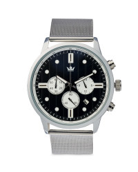 Men's Silver Watch with Black Dial