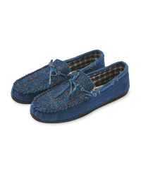 Moccasin Slippers with Harris Tweed