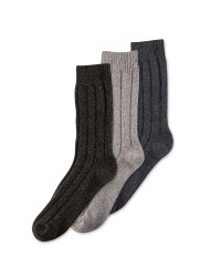 Men's Wool Blend Socks 3-Pack - Grey/Black