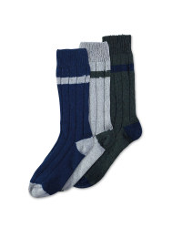 Men's Wool Blend Socks 3-Pack - Grey/Green