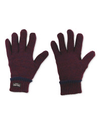 Men's Workwear Knitted Twist Gloves - Burgundy