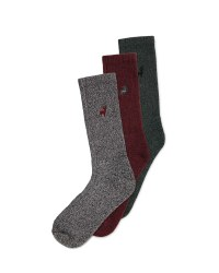 Men's Chunky Socks 3 Pack - Grey/Burgundy/Green