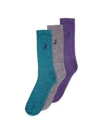 Men's Chunky Socks 3 Pack - Blue/Grey/Purple