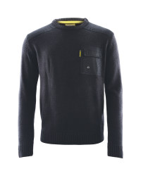 Mens Crew Neck Workwear Pullover - Black