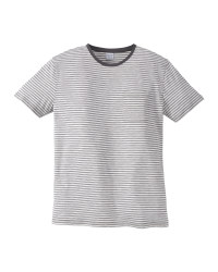 Mens Grey/White Striped Crew T-Shirt
