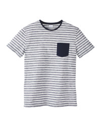 Mens Navy/White Striped Crew T-Shirt