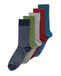 Mens Pique Textured Socks 5 Pack - Multi-Colour