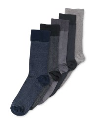 Mens Pique Textured Socks 5 Pack - Navy