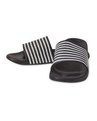 Avenue Men's Black Stripe Sliders