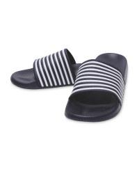Avenue Men's Navy Stripe Sliders