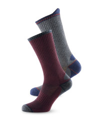 Mens Work Socks 2 Pack - Burgundy/Grey