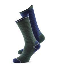 Mens Work Socks 2 Pack - Navy/Green