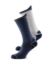 Mens Work Socks 2 Pack - Navy/Dark Grey