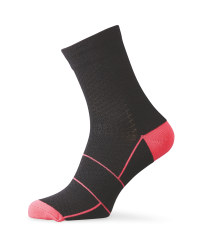 Merino Blend Cycling Socks - Black/Pink