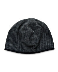Merino Wool Striped Reverse Beanie - Black/Grey