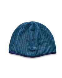 Merino Wool Striped Reverse Beanie - Blue/Turquoise