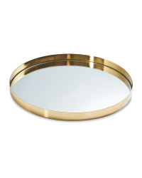Mirrored Glass Drinks Tray - Brushed Gold