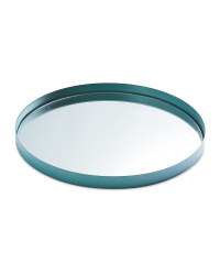 Mirrored Glass Drinks Tray - Green