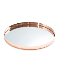 Mirrored Glass Drinks Tray - Rose Gold