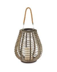 Mid Brown LED Woven Lantern