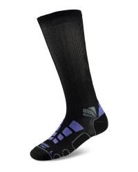 Mid Compression Running Socks - Black/Violet