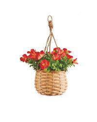 Mini Red Artificial Flower Basket