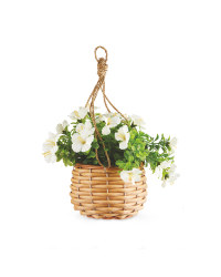 Mini White Artificial Flower Basket