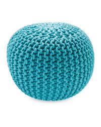 Mini Knitted Pouffe - Aqua